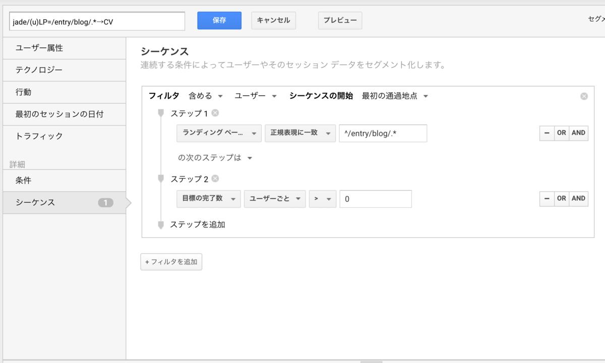 Googleアナリティクスのシーケンスセグメントでブログ流入後にCVにしたユーザーの抽出