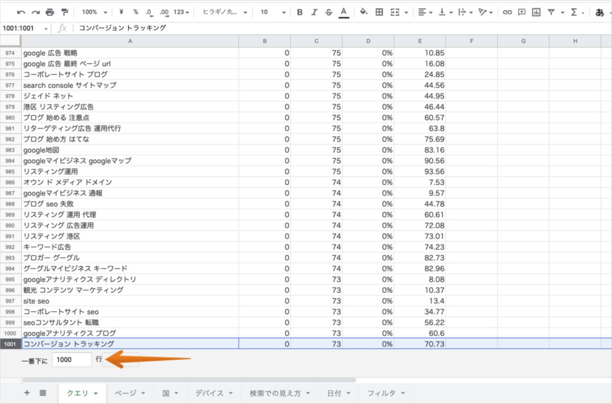 Search Console UI からエクスポートする際、データのレコード上限数は1,000行のキャプチャ2
