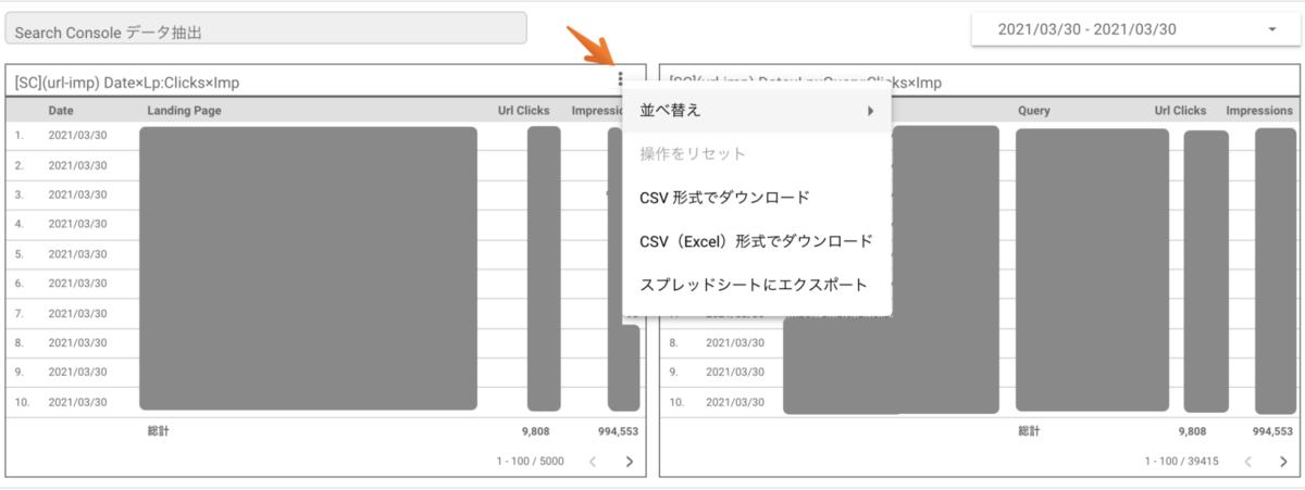 Search Console API を利用してエクスポートするデータのレコード上限キャプチャ1