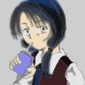 [女の子絵]紙パックジュースを飲む