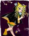 [女の子絵][ねこ絵]はてなハイカーさん、ハロウィーン近いしハロウィーンっ子のイラスト