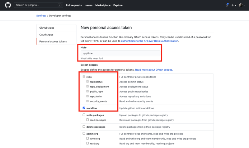 Setting Personal Access Token