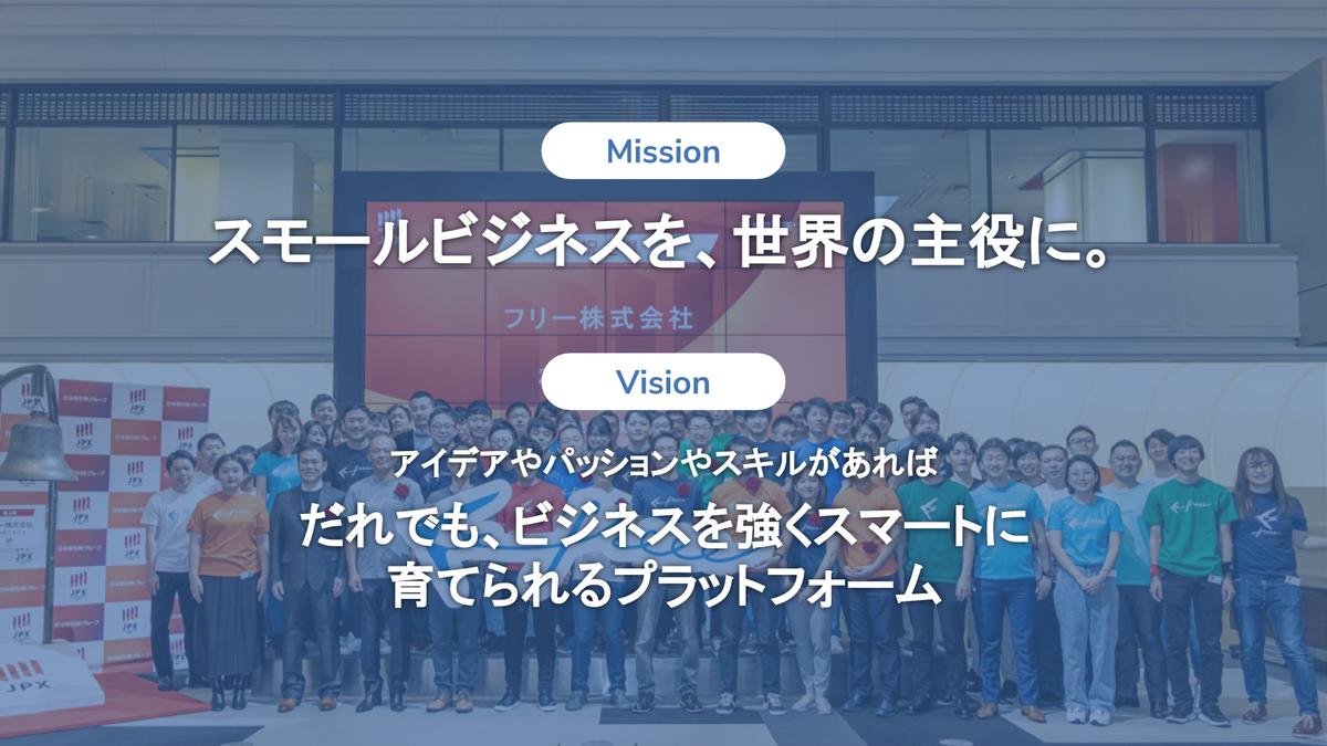 freeeのミッション「スモールビジネスを、世界の主役に。」freeeのビジョン「アイデアやパッションやスキルがあればだれでも、ビジネスを強くスマートに育てられるプラットフォーム