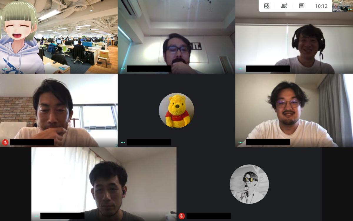 Google Meet のキャプチャ。時刻は10:12、8人集まっている
