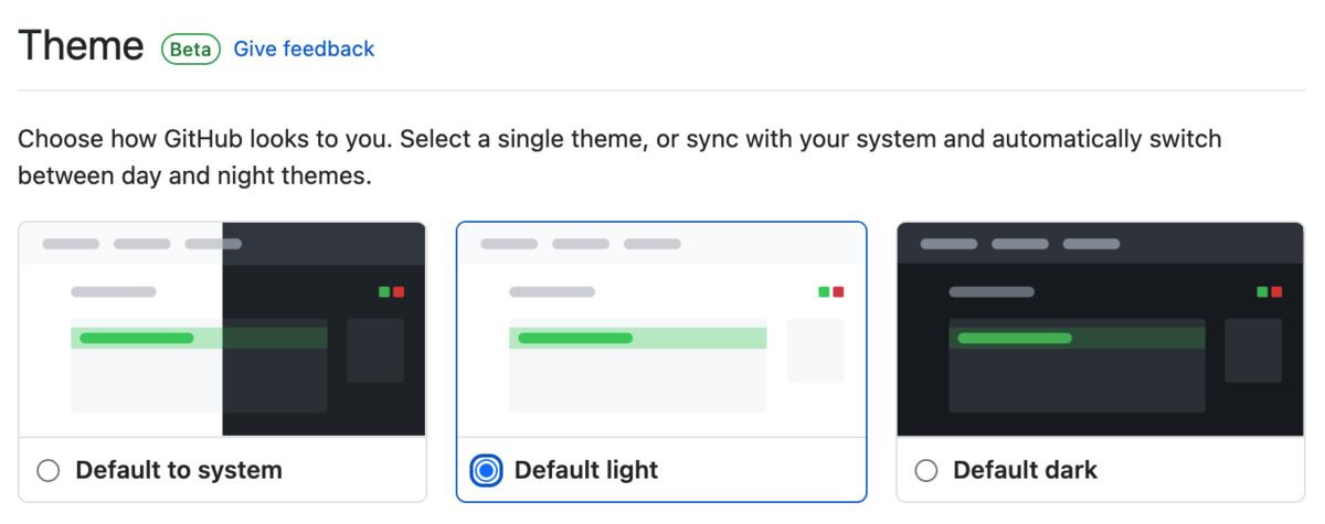 GitHubのスクリーンショット。Themesという項目名で Default to system / Default light / Default dark から選択することができる