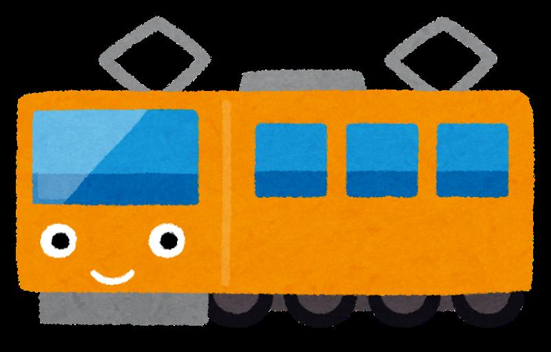 電車に笑った顔がついているイラスト