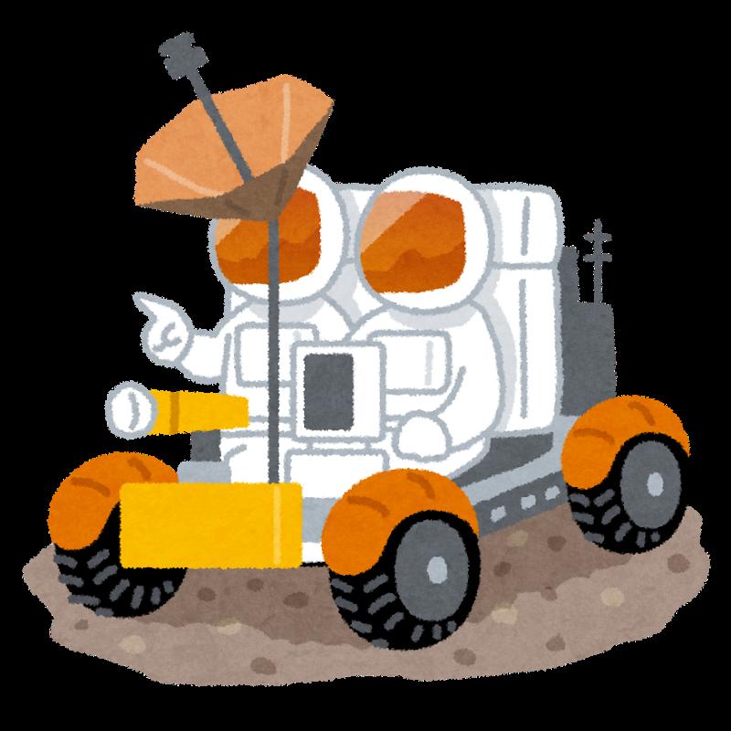 月面バギーに乗る宇宙飛行士のイラスト