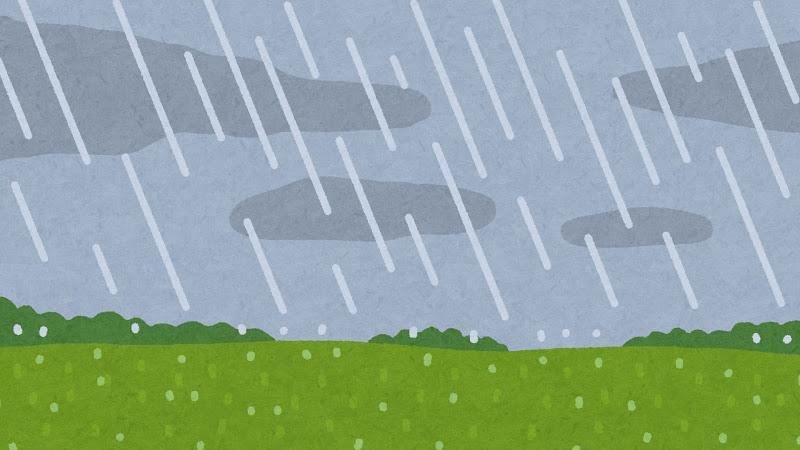 雨が降る草原のイラスト