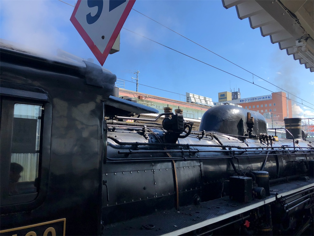 側面から見た蒸気機関車