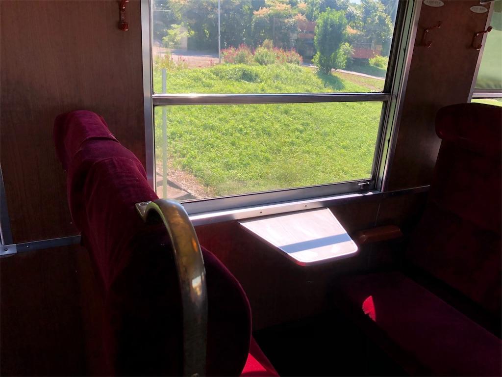 電車のレトロな車窓
