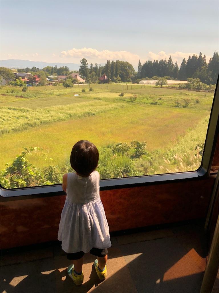 大きな車窓と外を眺める女の子