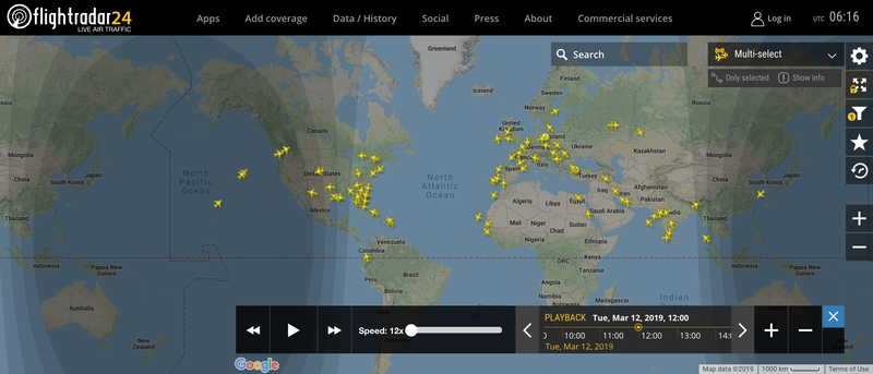 2019/03/12 12:00時点で運航中のボーイング737 MAX 8