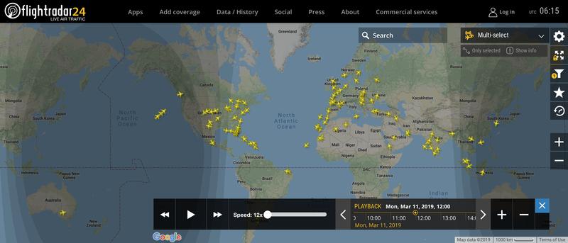 2019/03/11 12:00時点で運航中のボーイング737 MAX 8
