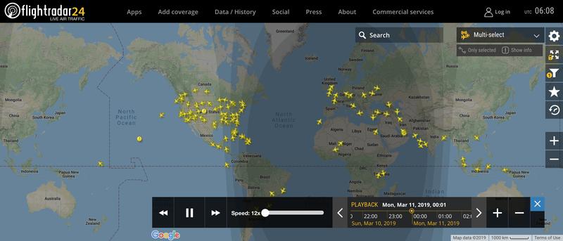 2019/03/11 00:00時点で運航中のボーイング737 MAX 8