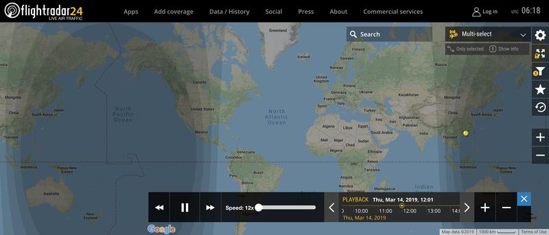 2019/03/14 12:00時点で運航中のボーイング737 MAX 8