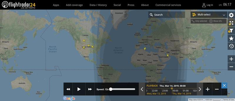 2019/03/14 00:00時点で運航中のボーイング737 MAX 8
