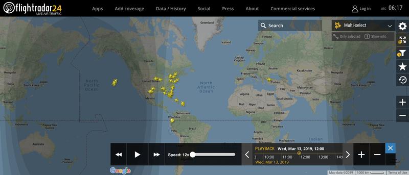 2019/03/13 12:00時点で運航中のボーイング737 MAX 8