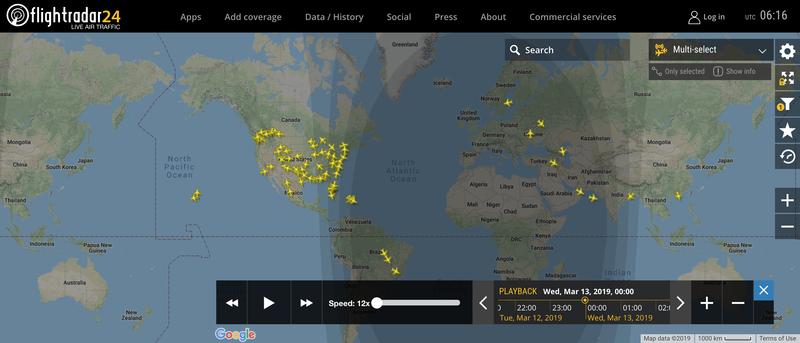 2019/03/13 00:00時点で運航中のボーイング737 MAX 8