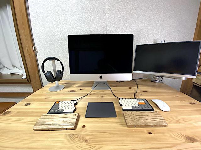 imac 4k 16gb 512gb サブモニター おすすめ デュアルモニター ヘッドホン elago スタンド MD650 キーボード 分離型 アームレスト Magic Trackpad2 Magic マウス2