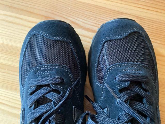 New Balance ニューバランス スニーカー ML574 ETE ALL BLACK ブラック かっこいい オシャレ EGG 比較 グレー 服 合う デザイン 画像 写真