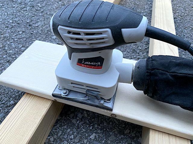 電動 サンダー 紙やすり ヤスリ ブライワックス ワトコオイル 木材 塗装 デスク テーブル 削る 落とす 剥がす 色落ち 簡単 おすすめ 80 60 ハンドサンダー