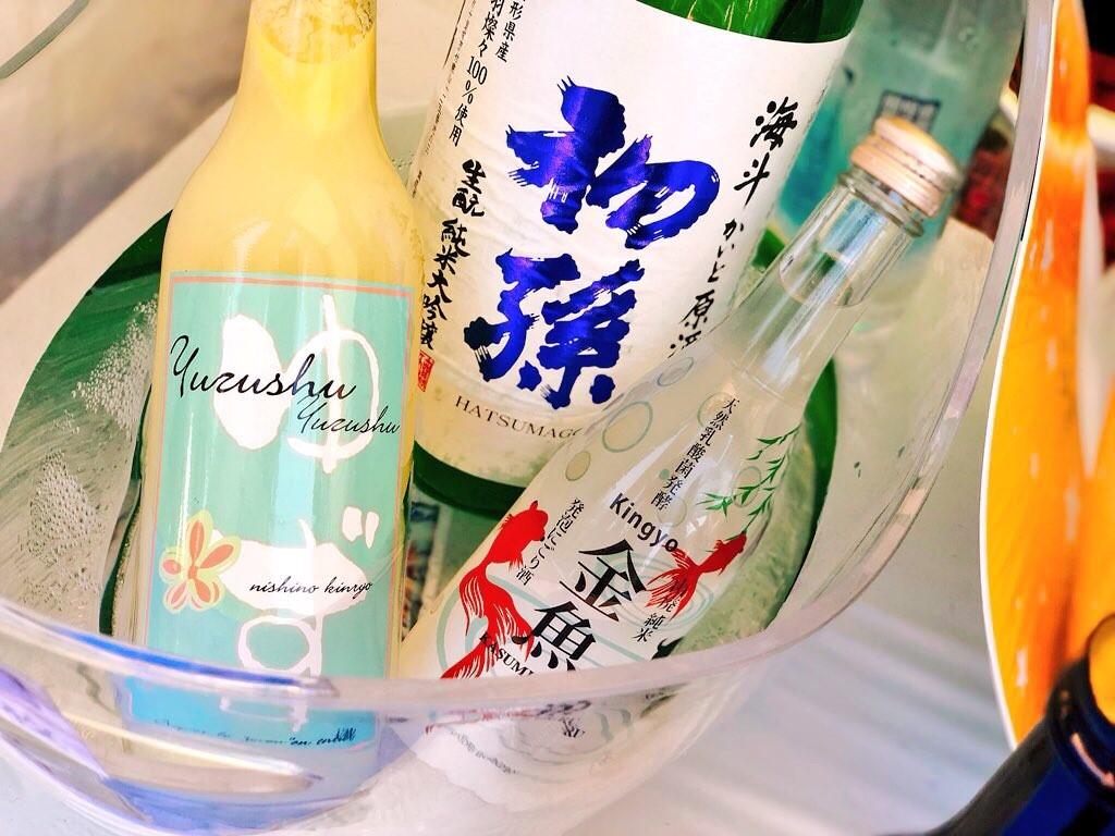 金魚のお酒に柚子のお酒