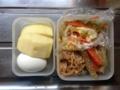 牛蒡酢、コールスロー、ナメタケ、ゆで卵、リンゴ