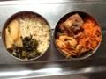 玄米、沢庵、高菜、人参のラペ、鯖缶、竹輪の辛味噌炒め