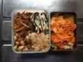 五目豆、ナメタケ、ヒジキサラダ、竹輪とモヤシ炒め、ニンジンラペ