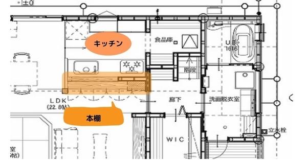 キッチン、本棚の図面