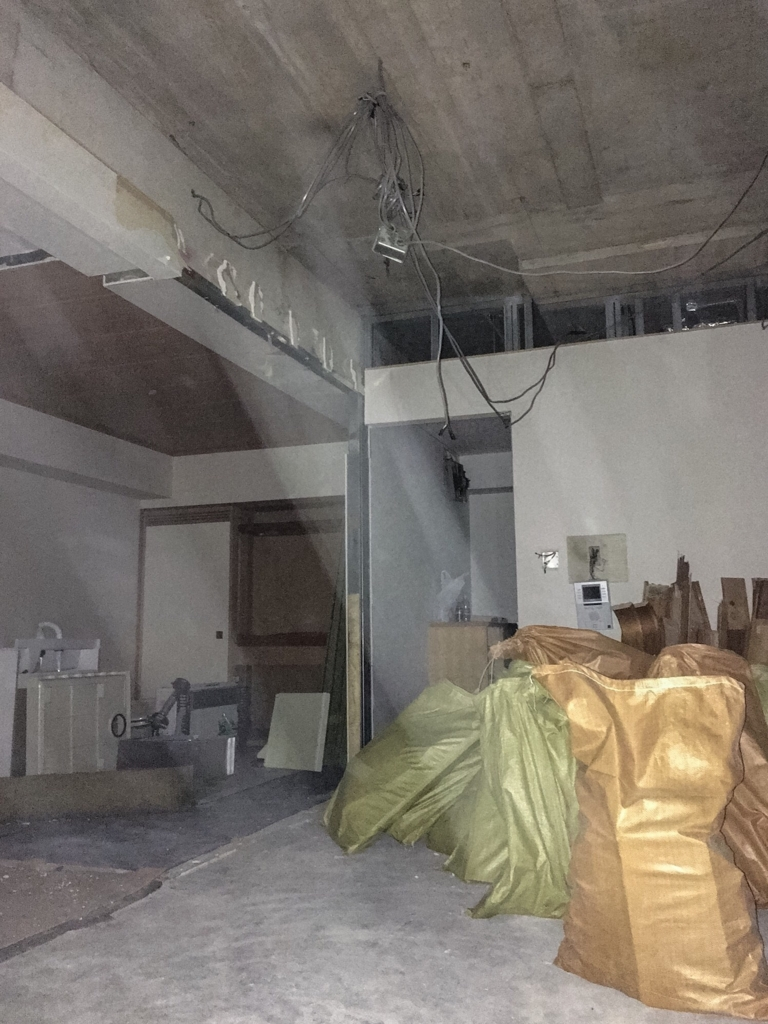 コンクリートが露になったリビングの天井