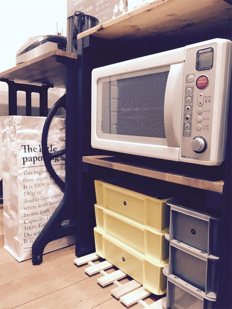 キッチンカウンター下に置いた業務用運搬ボックス