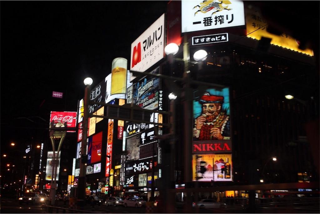 札幌の繁華街すすきのの中心部
