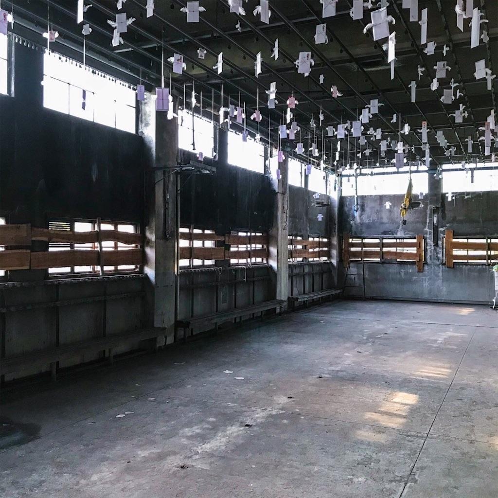 旧住友赤平炭鉱抗口浴場の天井から吊るされた祝儀袋