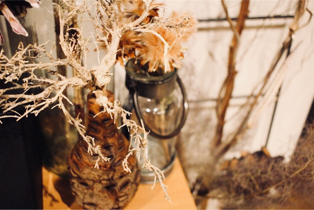 バンクシアの花器にディスプレイしたシーブッシュ