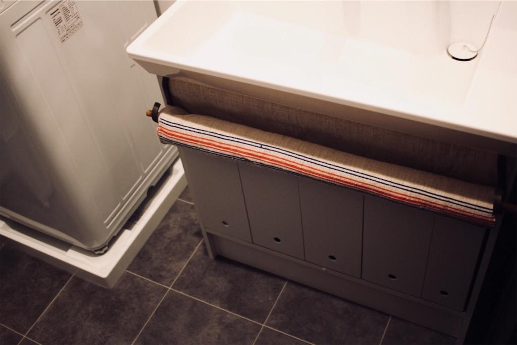洗面台下収納と目隠しのリメイク