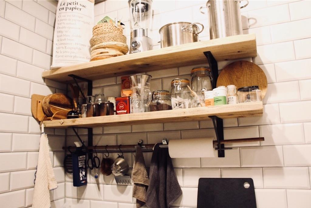 DIYしたキッチンのタオルバー(タオル掛け)