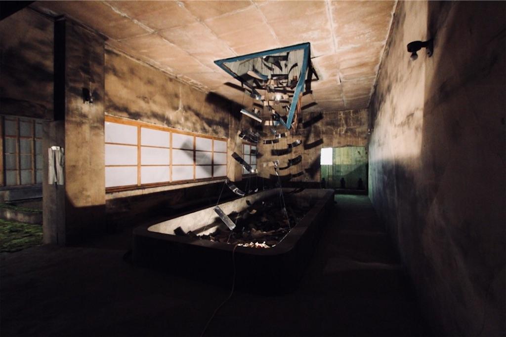 坑口浴場の湯気をアートで再現