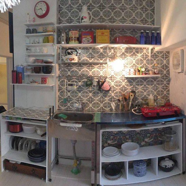 タイルが印象的なリノベーション後のキッチン