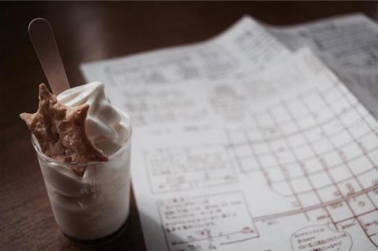 道草館にあるきらりのソフトクリームと手書きMAP