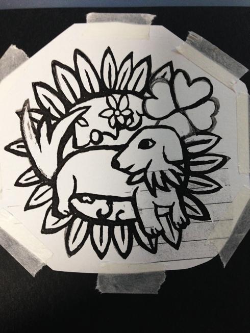 愛犬切り絵図案
