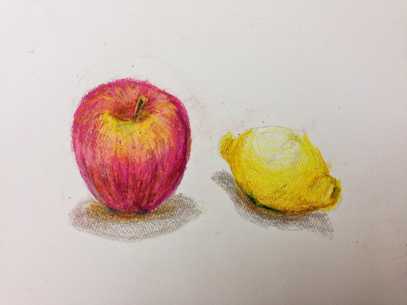 りんごとレモンの静物画
