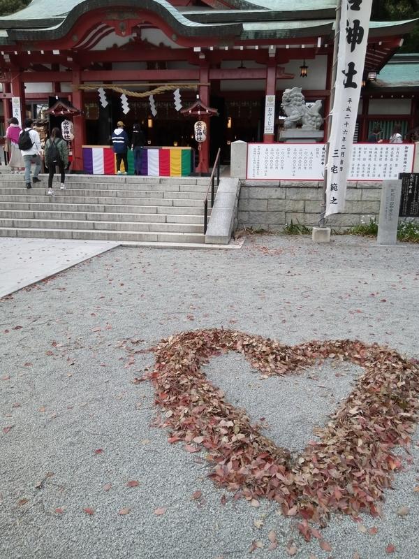 来宮神社のハート型の落ち葉