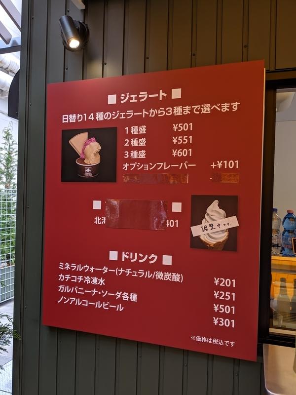 日本橋三越の屋上、ジェラートのメニュー