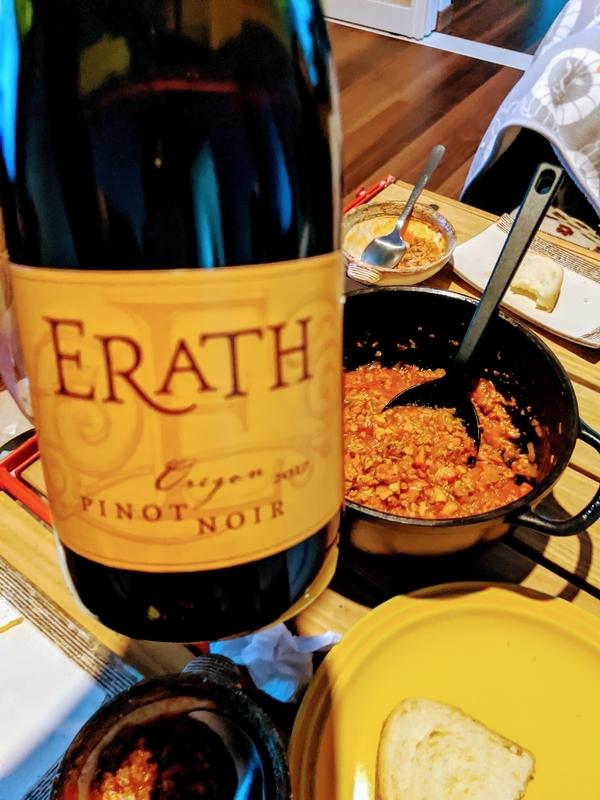 ミートソースと赤ワイン