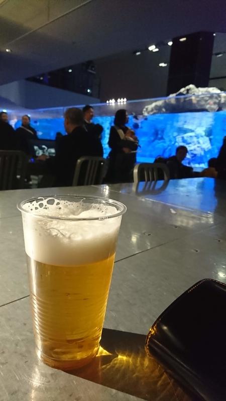 隅田水族館でビール