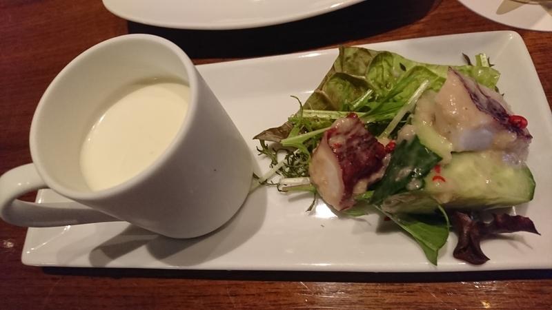エノテカ眞 ジャガイモのスープ、タコのサラダ