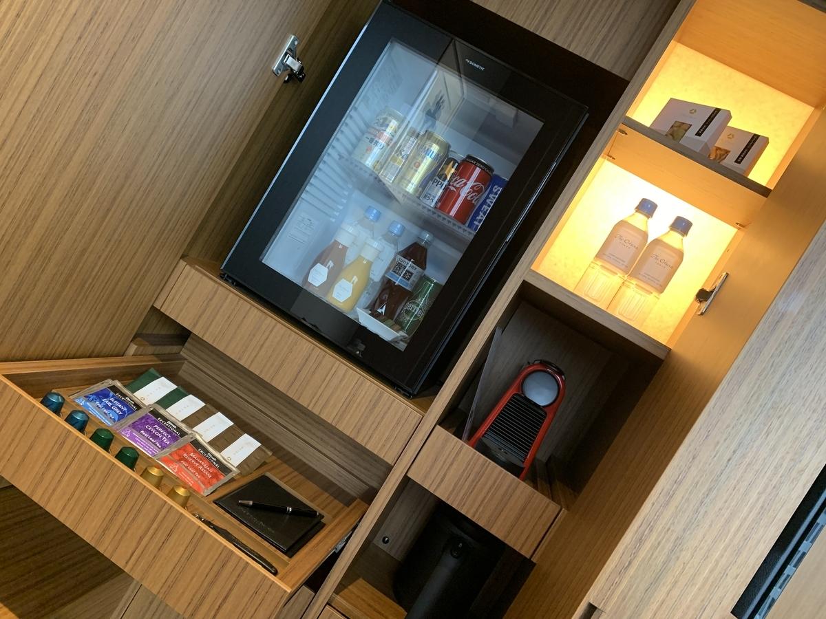 コーヒー、紅茶、冷蔵庫、スナック、お菓子、お部屋の飲み物、オークラ東京