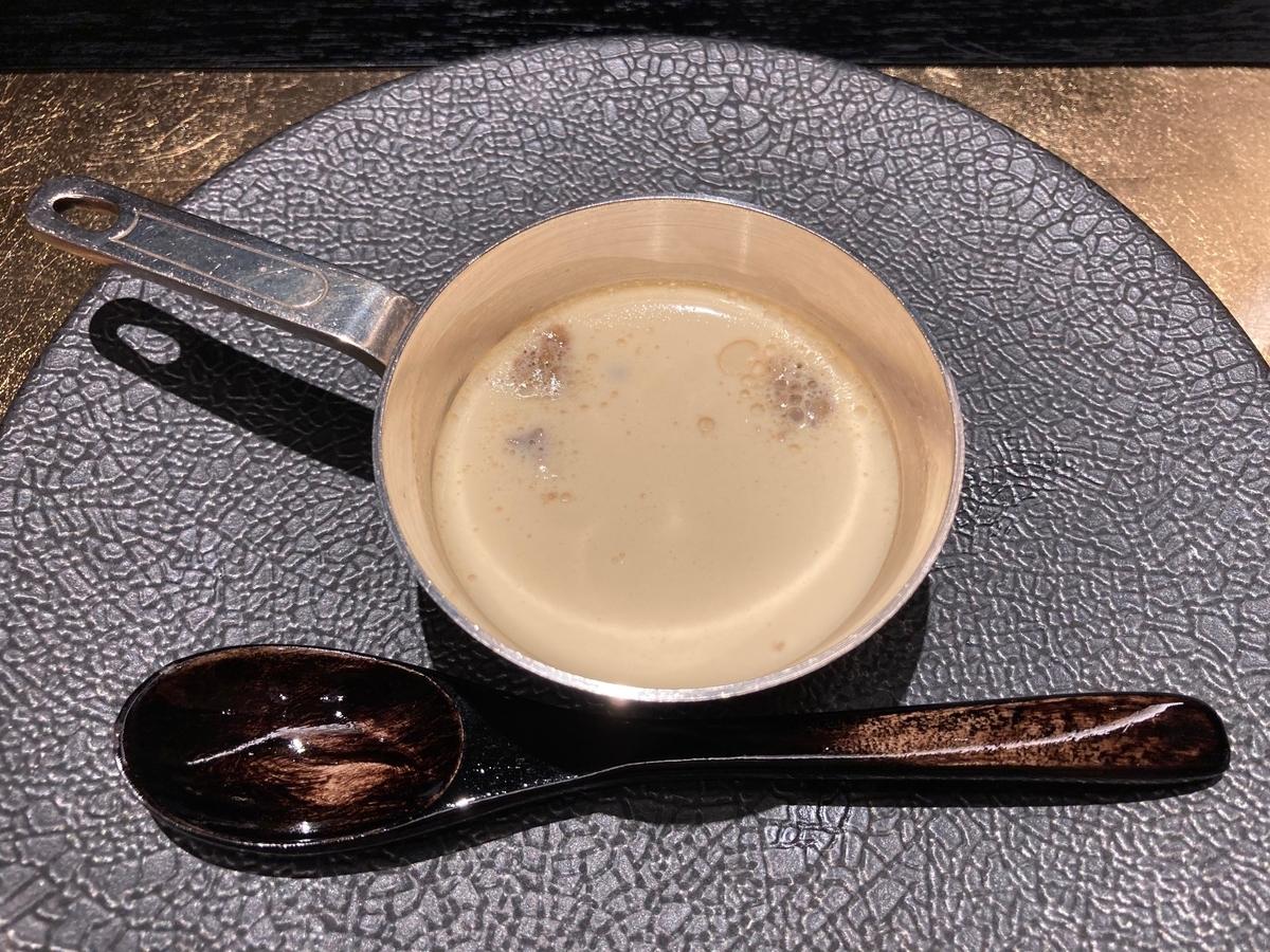 アミューズ、鉄板焼き、洋風茶碗蒸し、桜