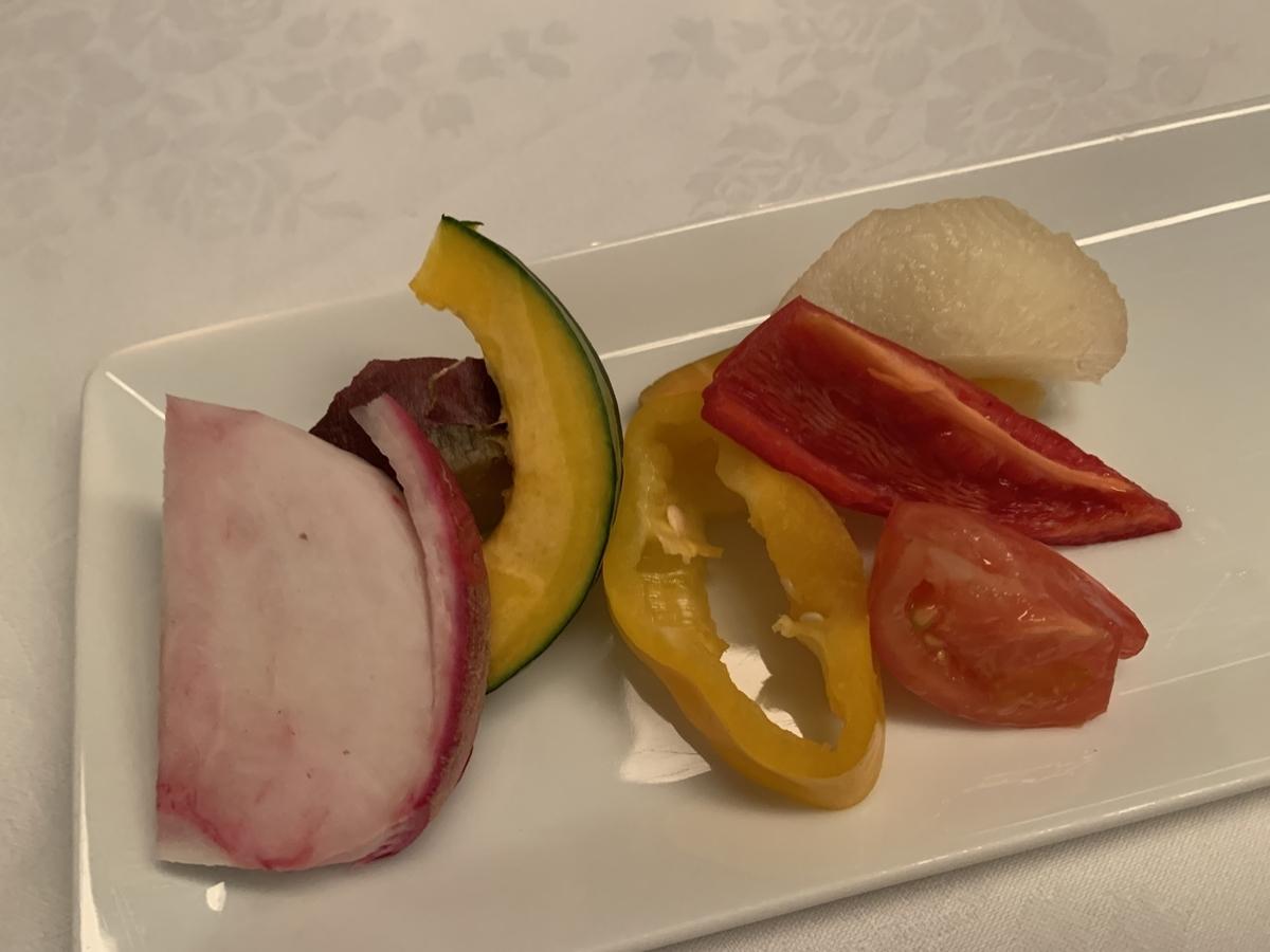 アルモニーアンブラッセ大阪、リヨン、野菜ソムリエ、野菜、ホテルディナー
